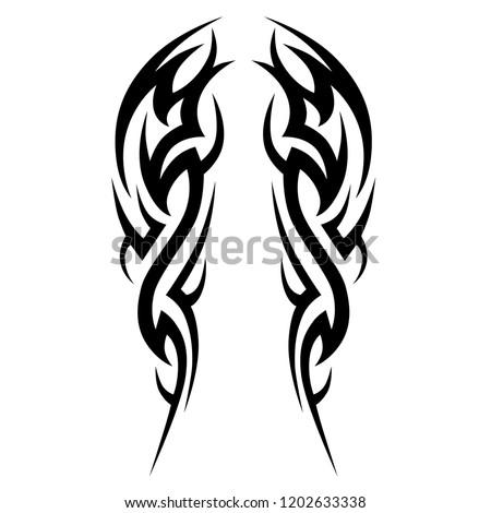 Tribal Symmetric Pattern Elements Tattoo Men Stock Vector Royalty