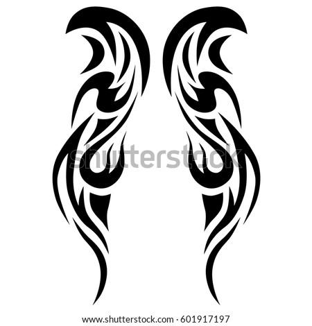 Tribal Symmetric Pattern Elements Tattoo Men Stock Vektorgrafik