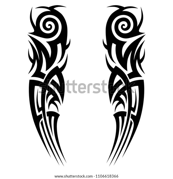 deb35b6da tribal symmetric pattern elements for tattoo men right and left hand and  shoulders, art deco