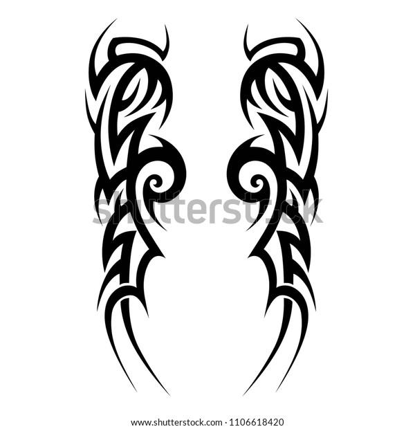 Tribal Symmetric Pattern Elements Tattoo Men Stock Vector