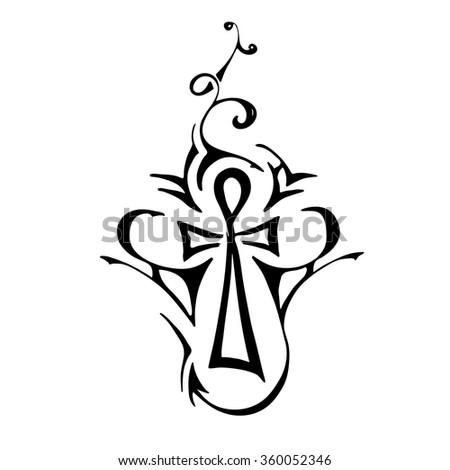 Tribal Tattoo Ankh Egyptian Symbol Eternal Stock Vektorgrafik