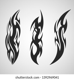 Tribal tattoo art set on an isolated background.