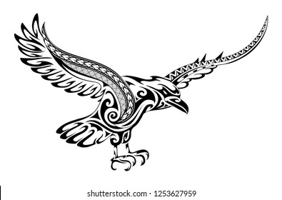 Tribal tattoo crow featuring a fusion of maori  style ornament and polynesian patterns