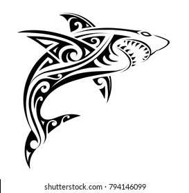 Tribal tattoo design for shark  with ethnic Polynesian tribal elements