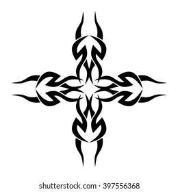 Tattoo Tribal Vector Design Sketch Cross Art Decorative Black