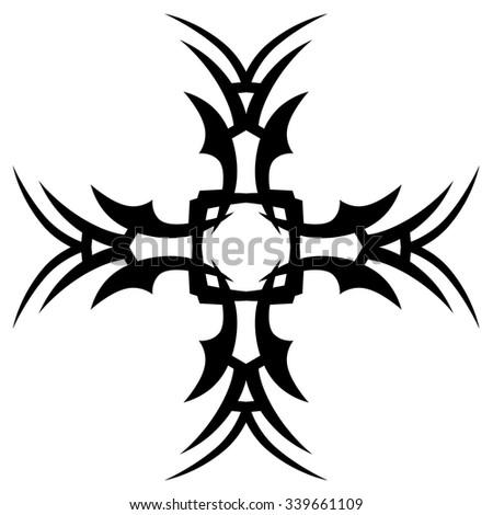 Tribal Tattoo Design Vector Sketch Cross Stock Vektorgrafik