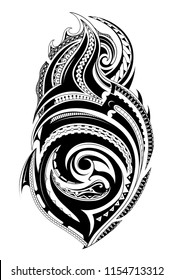 Tribal tattoo with ethnic polynesian ornaments