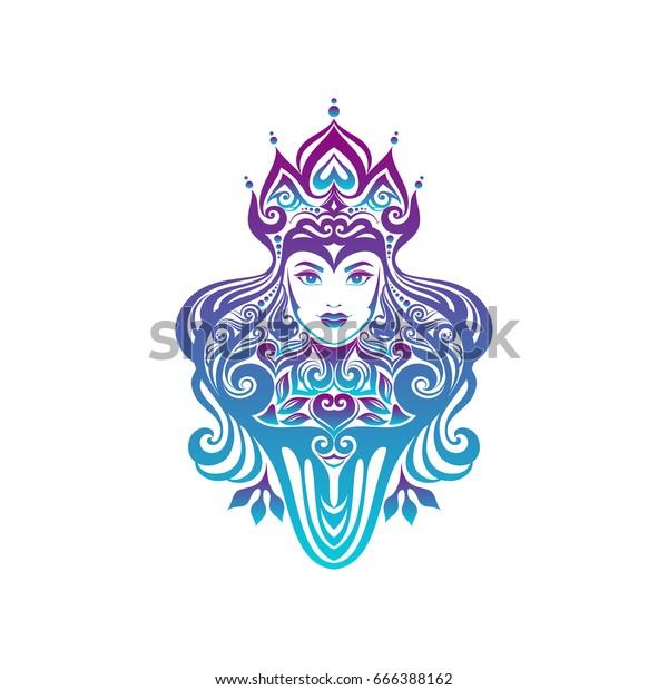 Tribal Tattoo Illustration Girl Face Hair Stock Vector Royalty Free