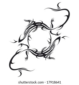 tribal tattoo illustration of two lizard making circle on white background