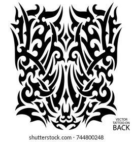 Tribal tattoo on the back, chest, forearm, full sleeve, leg, calves legs. Tattoo sketch, black and white vector stencil tattoo. Vintage male tattoo. Vector illustration on a white background.