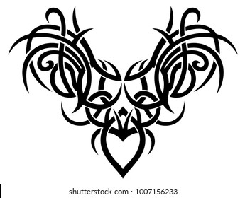 Tribal Tattoo ornament with wings and heart.