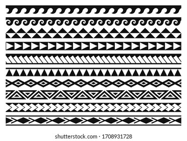 Tribal tattoo seamless patterns in maori style.  Traditional body art ornaments. Set of abstract black and white vector borders.  Ethnic aboriginal patterns for tattoo or maori tribal decoration.