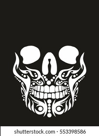 Tribal tattoo skull graphic design vector art