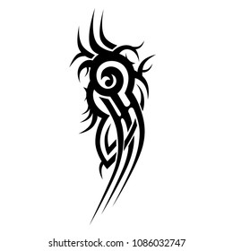 tribal tattoo sleeve abstract black pattern vector, sketch art design isolated, tribal tattoo vector templates art  design, abstract  element on white background