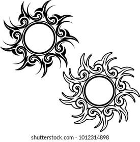 Tribal Tattoo Sun Design Vector Art Illustration
