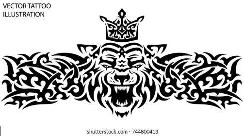 Tribal tattoo tiger with crown on the back, chest, forearm, shoulder, calves legs. Tattoo sketch, black and white vector stencil tattoo. Male tattoo. Vector illustration on a white background.