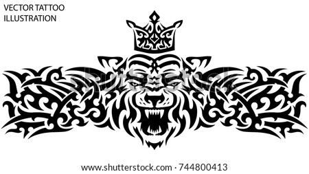 Tribal Tattoo Tiger Crown On Back Stock Vector Royalty Free
