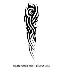 Tribal tattoos designs. Tattoo arm sleeve ideas. Vector sketch illustration on white background.