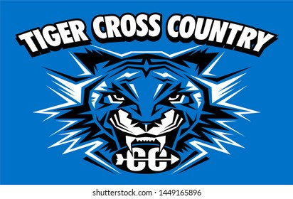 tribal tiger cross country team design for school, college or league
