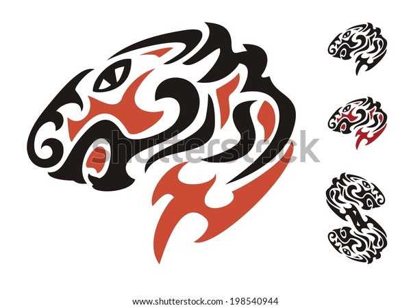 Tribal Tiger Head Black Red On Stock Vector Royalty Free
