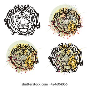 Tribal tiger head splashes. Grunge tiger head with floral splashes and blood drops opposite to the decorative sun. Four options