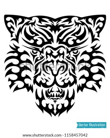 Tribal Tiger Tattoo Puma Vector Illustration Stock Vector Royalty