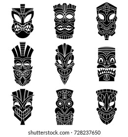 Tribal tiki mask black silhouettes vector set. Flat icons isolated on white background.