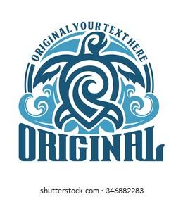 tribal turtle blue