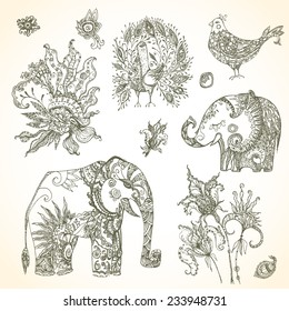 Tribal vector decorative amazing animal set