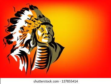 Tribal vector illustration indian man