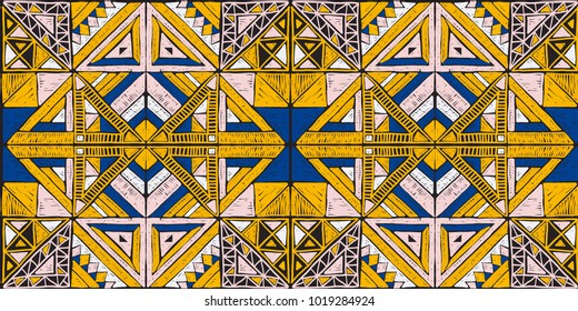 Tribal vector ornament. Seamless African pattern. Ethnic carpet with chevrons. Aztec style. Geometric mosaic on the tile, majolica.  Ancient interior. Modern rug. Geo print on textile. Vintage fabric.