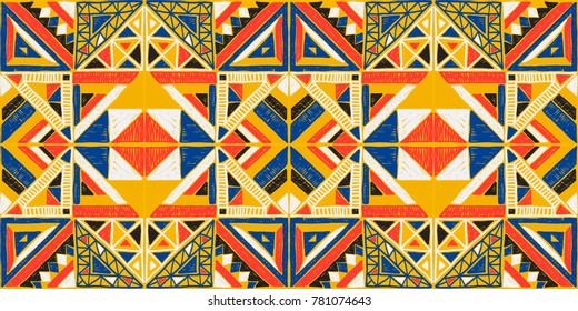 Tribal vector ornament. Seamless African pattern. Ethnic carpet with chevrons and triangles. Aztec style. Geometric mosaic with triangles on the tile. Ancient interior. Modern rug. Geo print
