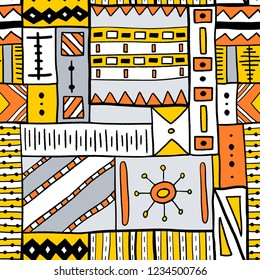 Tribal vector pattern - traditional indigenous African style textile design.