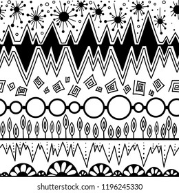 tribal vector seamless pattern. aztec fancy abstract geometric art print. ethnic hipster background. doodle hand drawn.Wallpaper, cloth design, fabric, paper, cover, textile, wrapping.