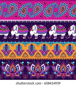 Tribal vector seamless pattern with elephant, paisley and hamsa. Ethnic indian background. Vintage retro color. Hand drawn illustration. Wallpaper, cloth design, fabric, paper, textile, cotton