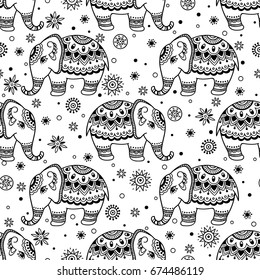 Tribal vector seamless pattern with elephant. Ethnic indian background. Vintage retro color. Hand drawn illustration. Wallpaper, cloth design, fabric, tissue, cover, textile template.