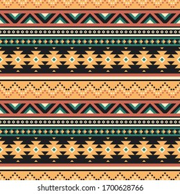 Tribal vector seamless pattern. Ethnic striped ornament. Geometric background with traditional folk motifs. Boho design for textile or paper.