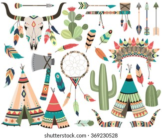 Tribal Vector - Teepee, Arrow, Feather, Skull, Dream Catcher Isolated Design Elements
