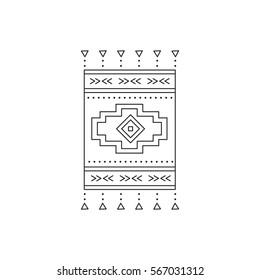 Tribal vector thin line icon, native woven carpet. Boho element, bohemian style, ethnic symbol. Black on white isolated illustration. Simple mono linear modern design.