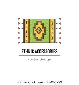 Tribal vector thin line icon, native woven carpet. Boho element, bohemian style, ethnic symbol. Colored isolated illustration. Simple mono linear modern design.