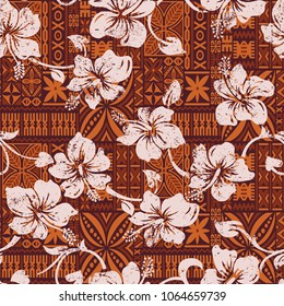 Tribal vintage Hawaiian hibiscus flowers wallpaper,  Hawaii abstract grunge floral vector seamless pattern