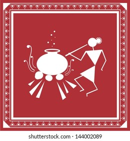 Tribal Warli painting of daily activities- woman cooking