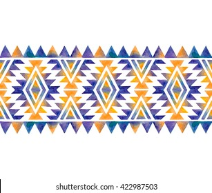 Tribal watercolor seamless border pattern. Fashion trendy aztec background. Hand drawn colorful geometric pattern. Modern abstract wallpaper. Vector illustration.