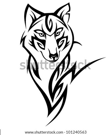 Tribal Wolf Tattoo Design Stock Vector Royalty Free 101240563
