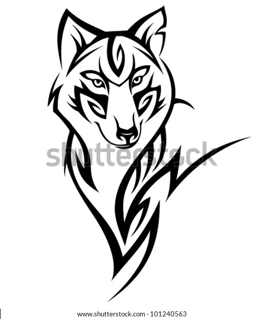 59a9e1915 Tribal Wolf Tattoo Design Stock Vector (Royalty Free) 101240563