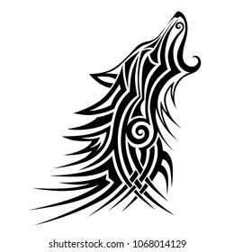 tribal wolf tattoo  design vector art sketch isolated, stencil wolf tattoos, template howling wolf on a white background