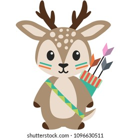 Tribal Woodland Deer Illustration - Deer in tribal inspired designs with arrows isolated on white background
