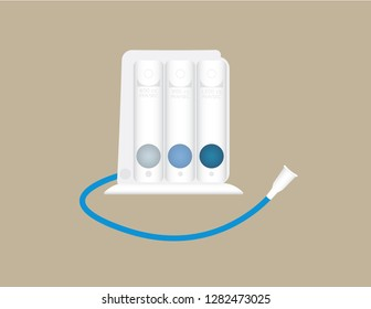 Tri-balls Incentive Spirometer medical equipment isolated on background, vector illustration