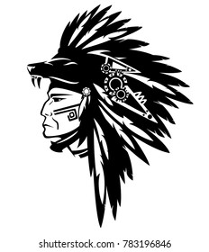 049ace122 tribe chief warrior wearing feather headdress with wolf head - black and white  vector design