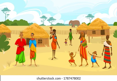 Tribe ethnic people in Africa flat vector illustration. Cartoon African woman with jug, afro character in tribal traditional costume, standing near ethnic hut house in village, rural African landscape